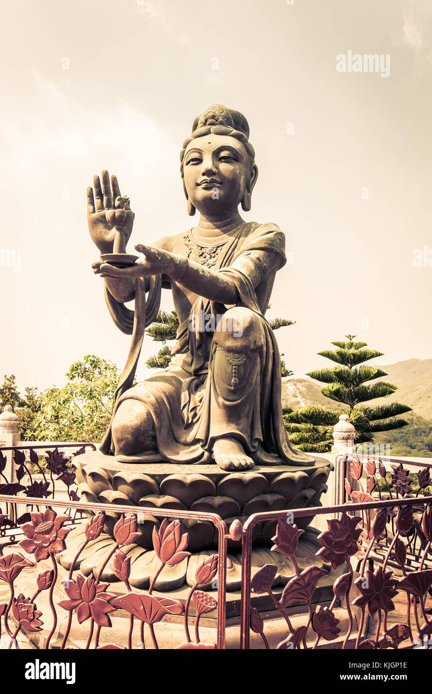 Statue from Po Lin monastery Lantau island in Hong Kong - Stock Image