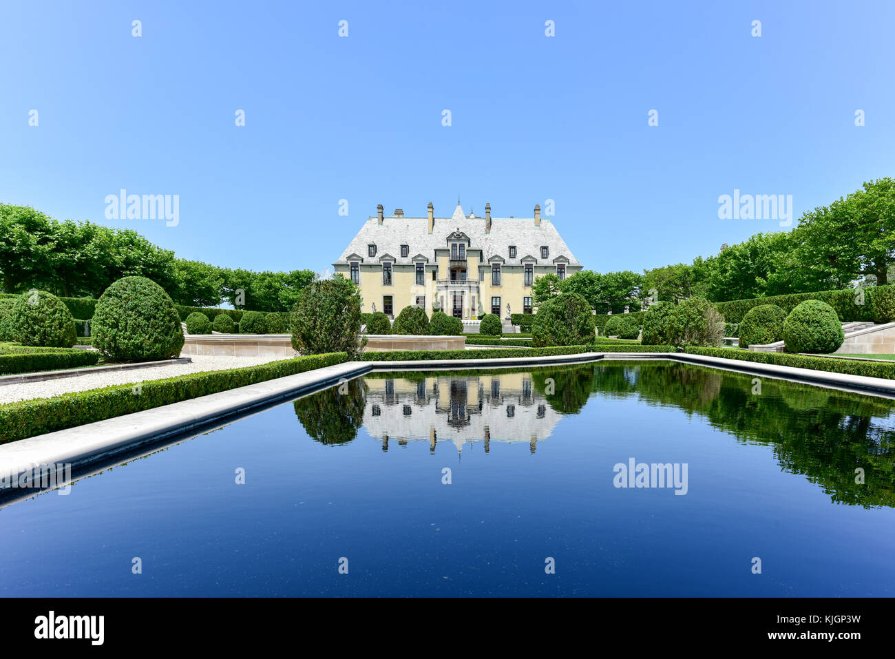 Oheka Castle in Huntington, New York. One of many among the Gold Coast Mansions of Long Island. Stock Photo