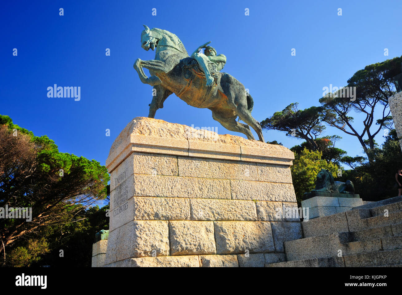 Cape Town, South Africa - March 25, 2012: The Rhodes Memorial monument in Cape Town, South Africa, on Table Mountain, - Stock Image