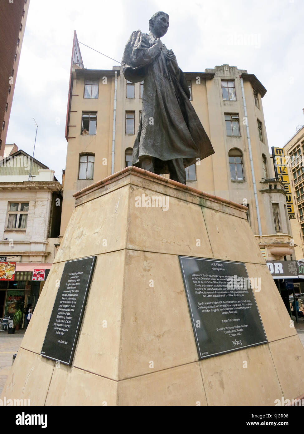Johannesburg, South Africa - January 17, 2012: Mahatma Gandhi Statue in Gandhi Square, Johannesburg, is a bronze - Stock Image