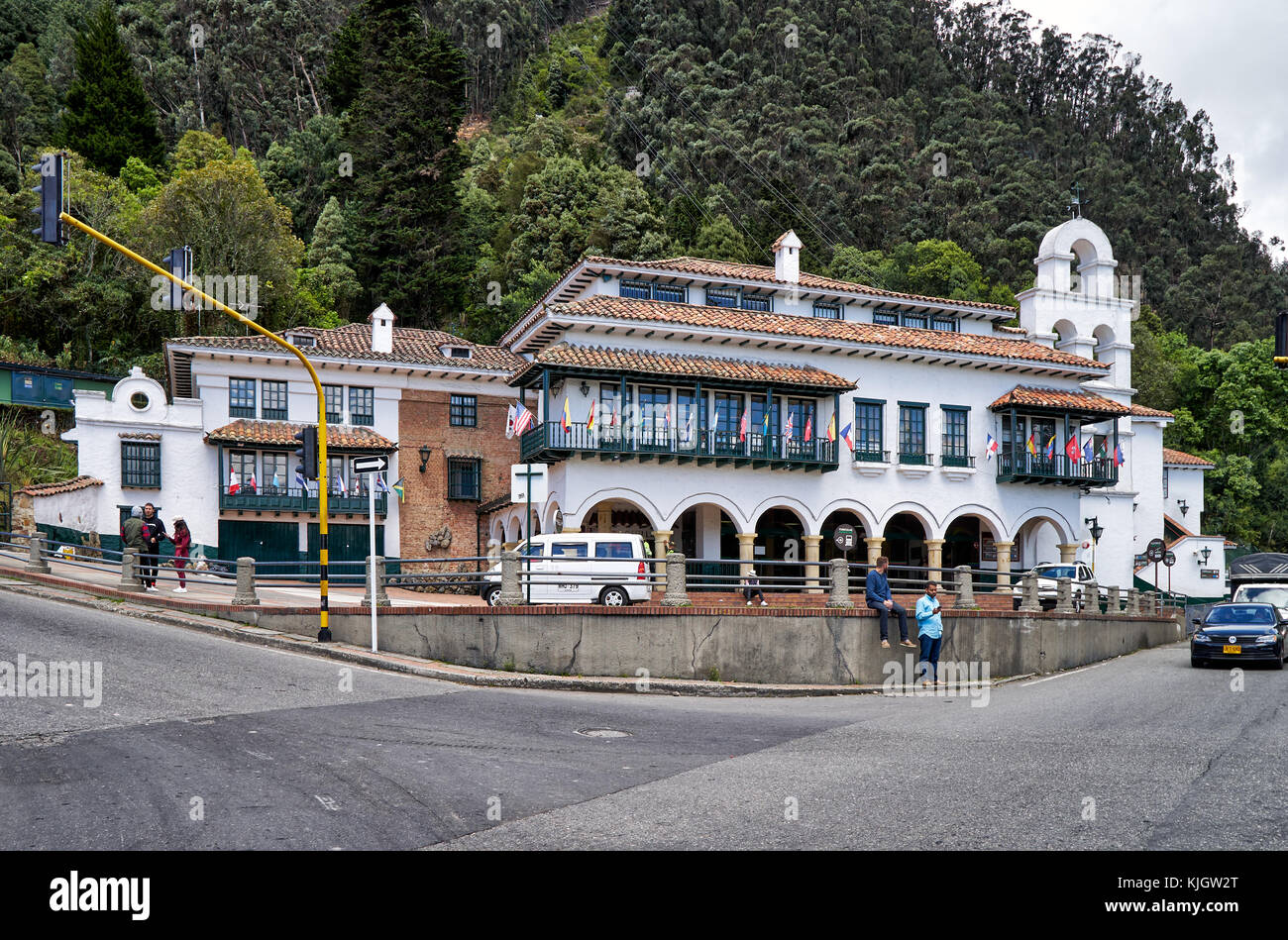lower terminus of cable car to Cerro de Monserrate, Bogota, Colombia, South America - Stock Image