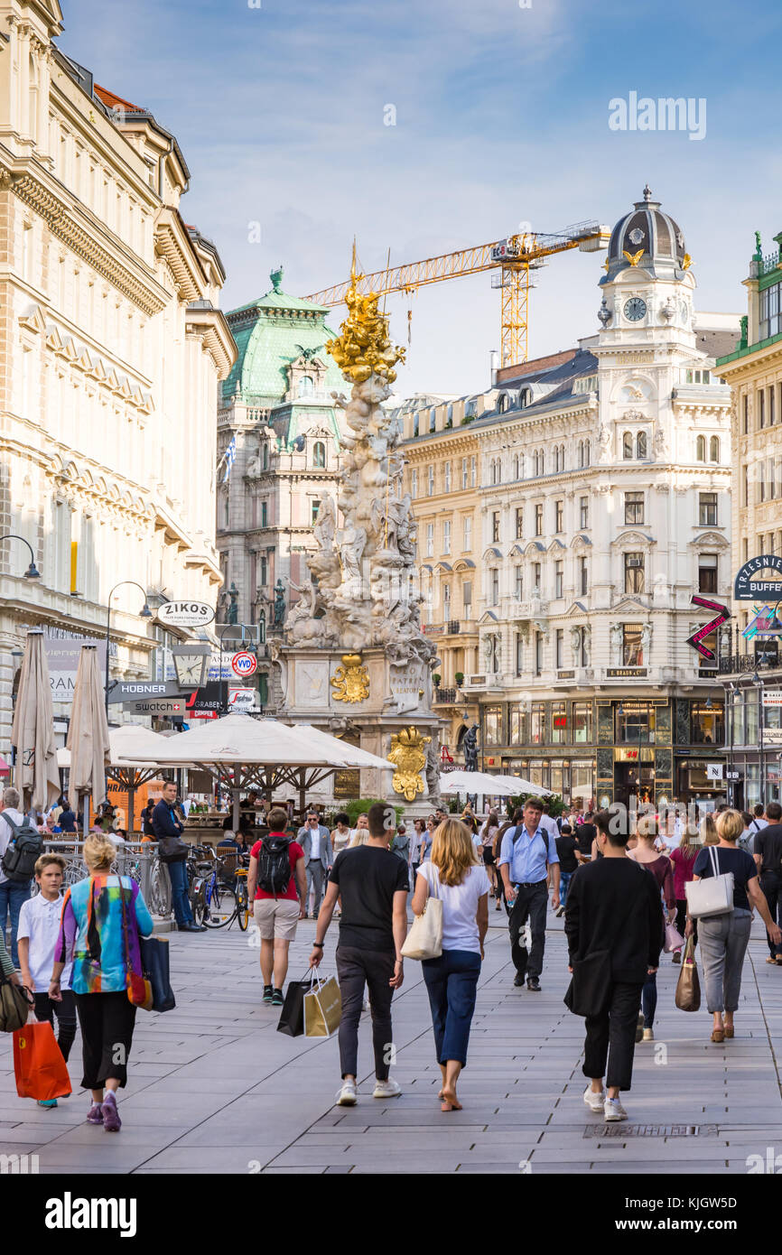VIENNA, AUSTRIA - AUGUST 28: People in the pedestrian Area of Vienna, Austria on August 28, 2017. Foto with view Stock Photo