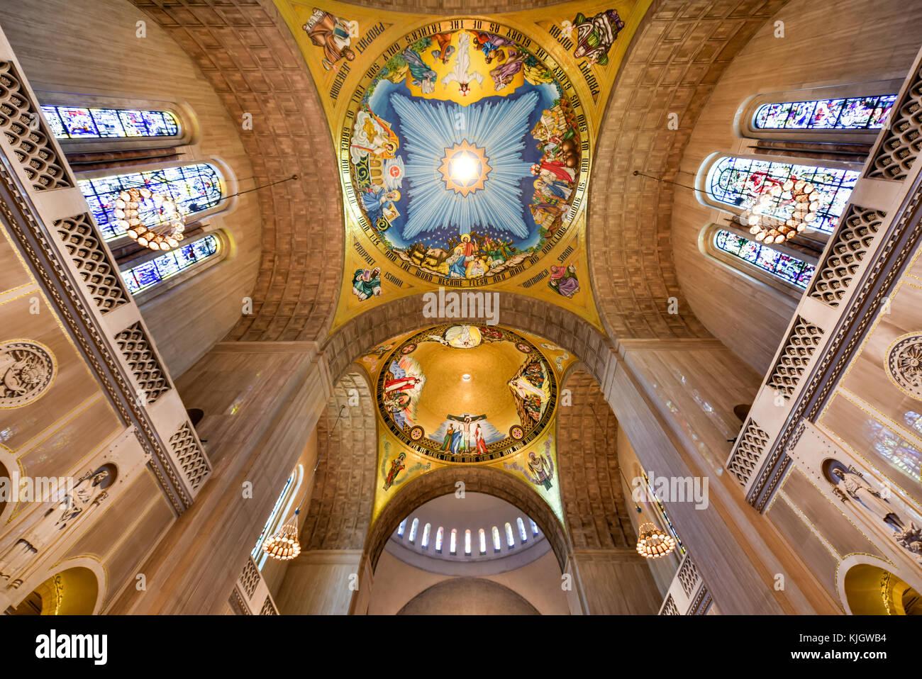 Washington DC - April 12, 2015: Basilica of the National Shrine Catholic Church, Washington DC, USA. Stock Photo