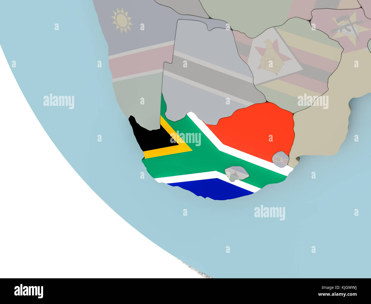 Map of South Africa on political globe