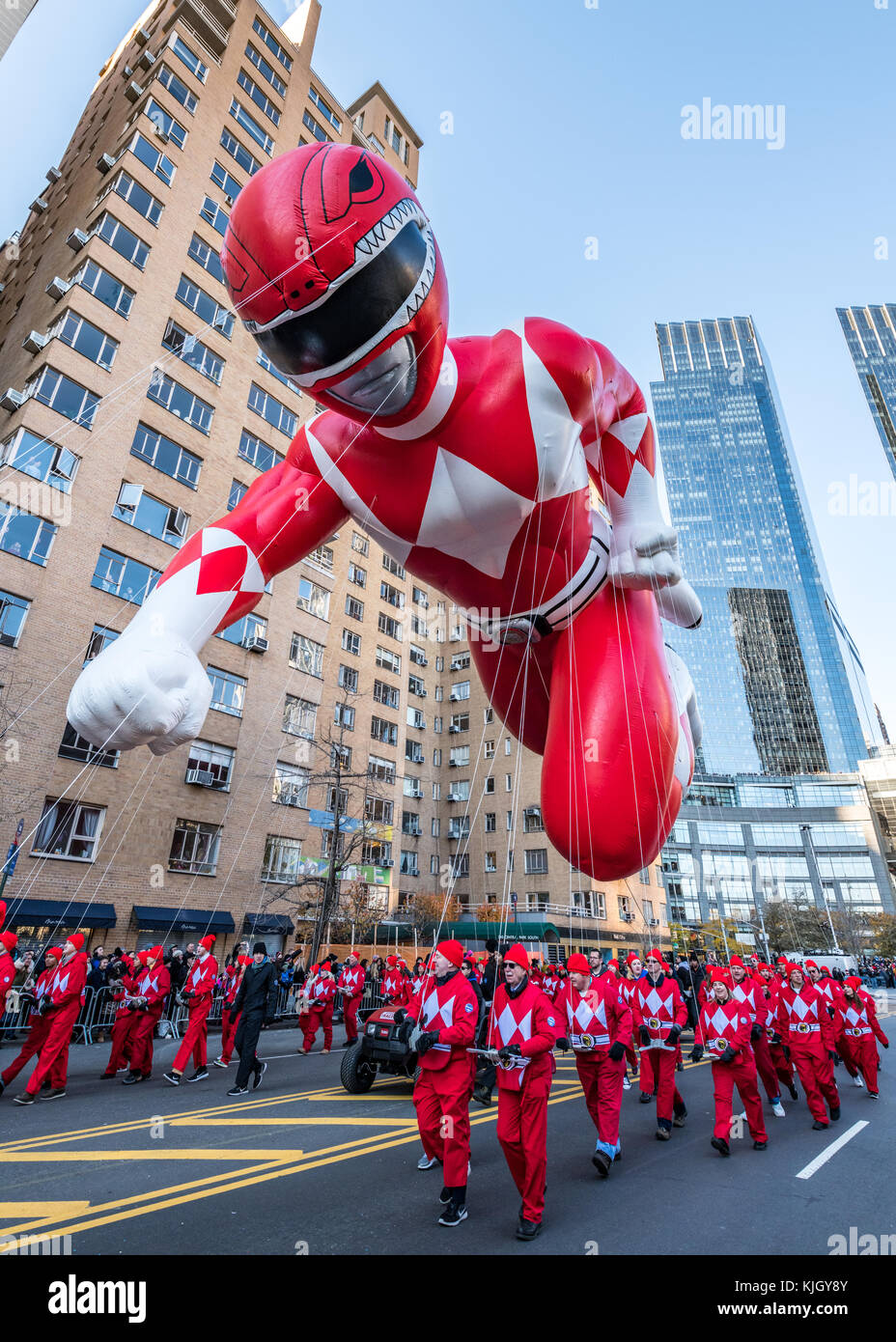 New York, USA, 23 Nov 2017. New York, USA,  A balloon of Red Mighty Morphin Power Ranger participates in the 2017 - Stock Image
