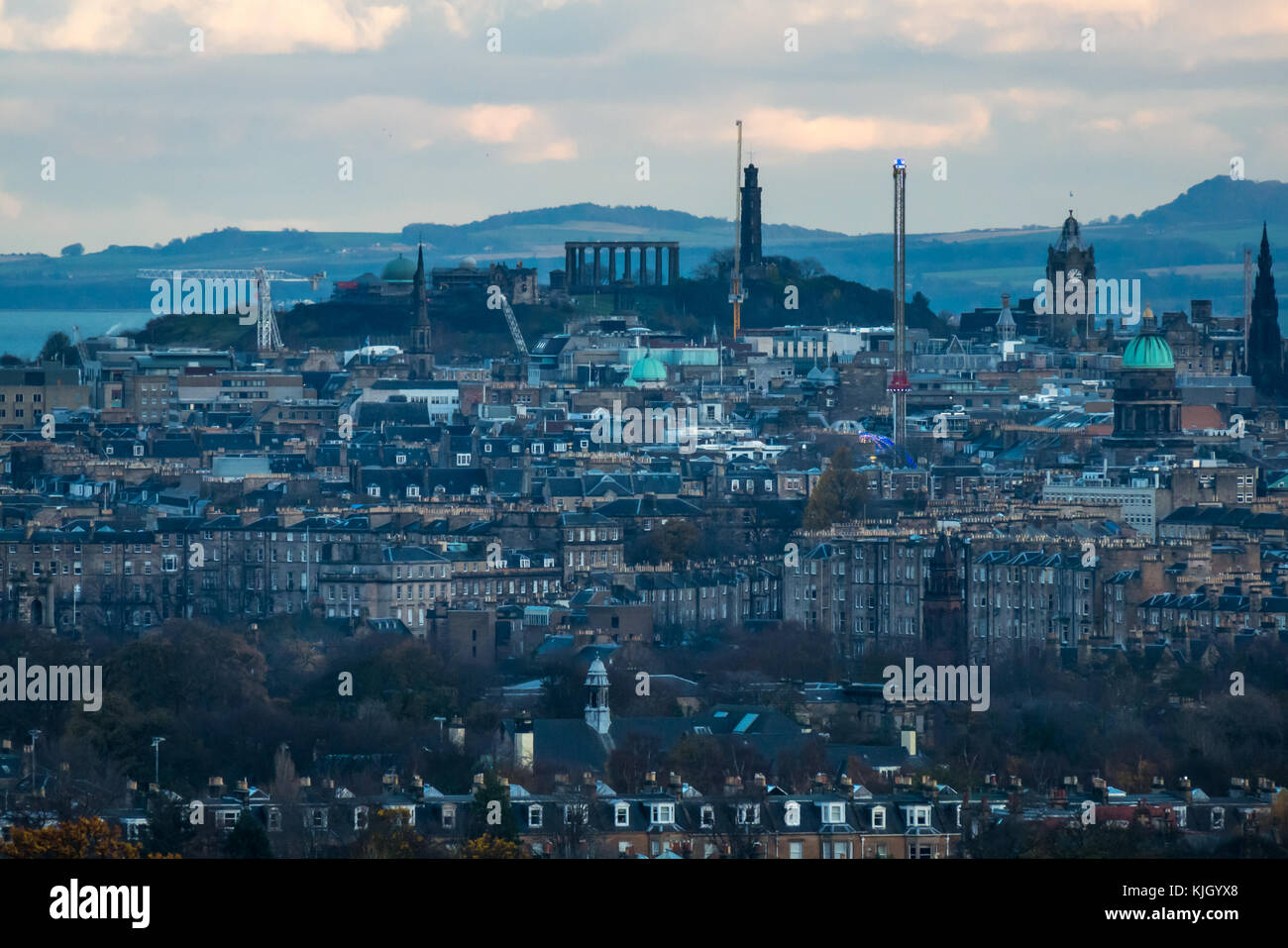 Edinburgh, Scotland, United Kingdom, 23rd November 2017. View over Edinburgh skyline in low Autumn sunlight with Stock Photo