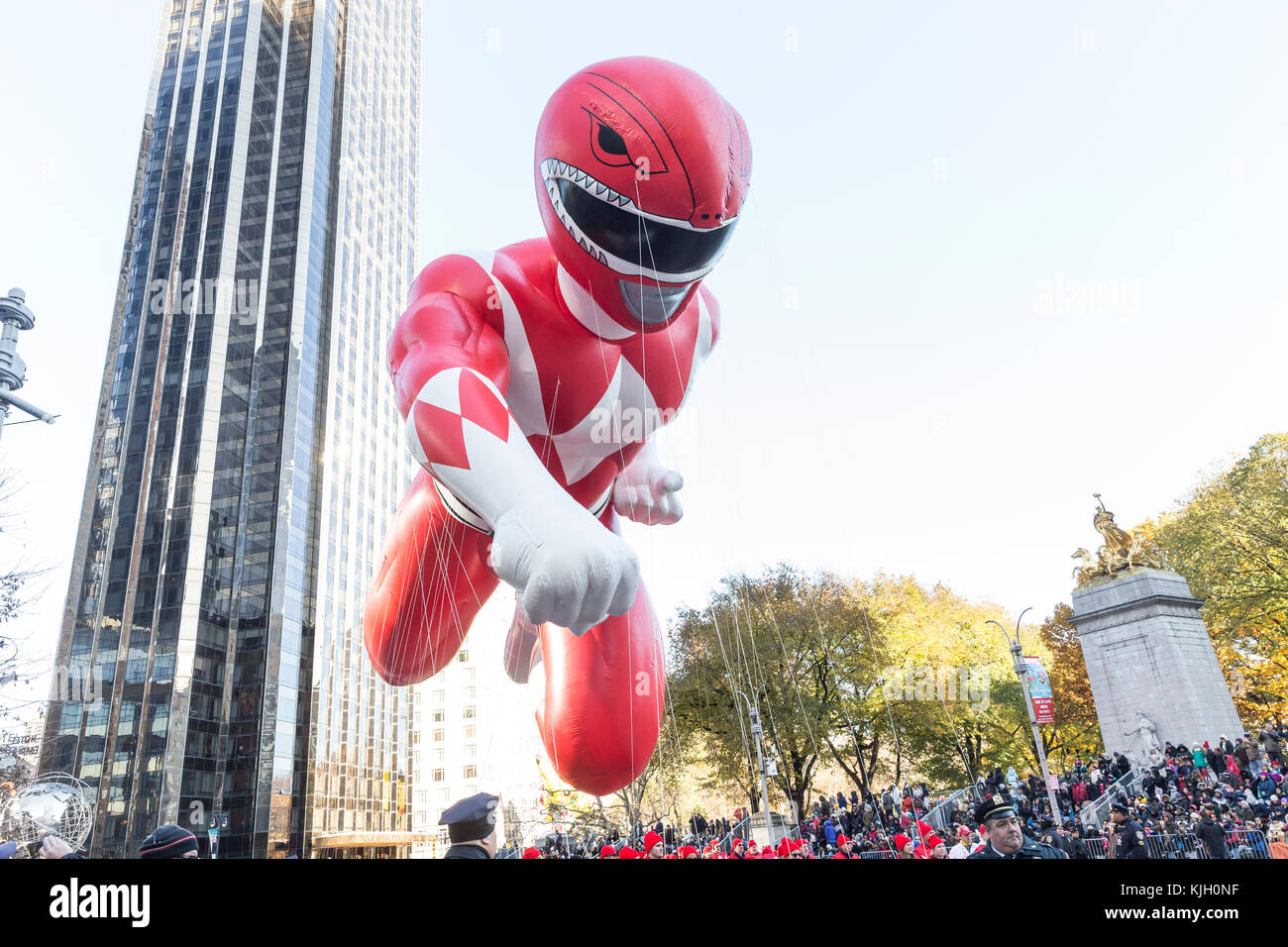 New York, United States. 23rd Nov, 2017.Red Mighty Morphin Power Ranger balloon floats during 91st Annual Macy's - Stock Image