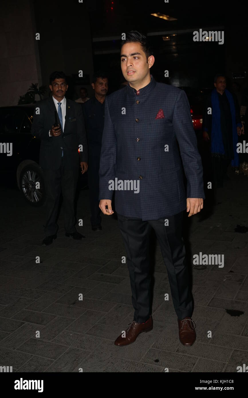 India Businessman Mukesh Ambani's son Akash ambani attend Indian cricket former player Zaheer khan and bollywood - Stock Image