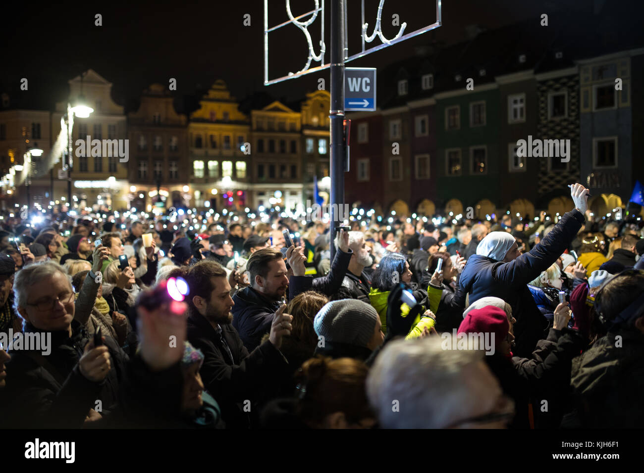 Poland, Poznan, 11.24.2017: Lights for judiciary - protest against violation the constitutional law in Poland, by - Stock Image