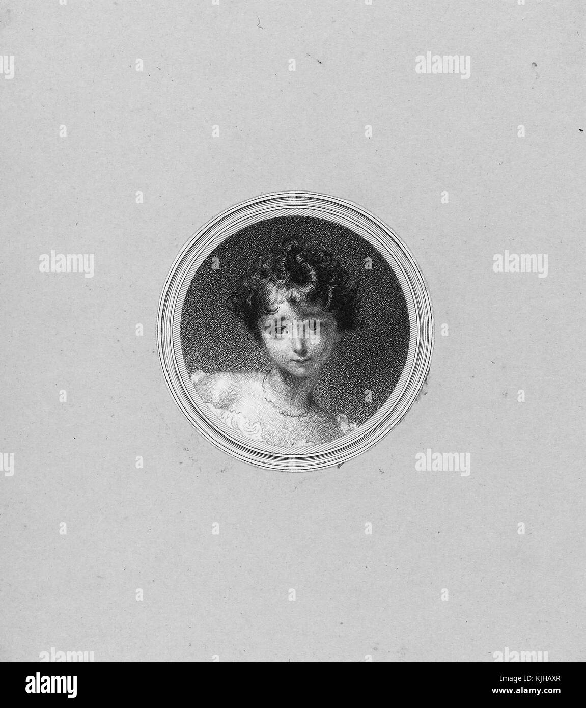 An etching from a portrait of a young Ada Lovelace, she was the only legitimate child of Lord Byron, she wrote the - Stock Image