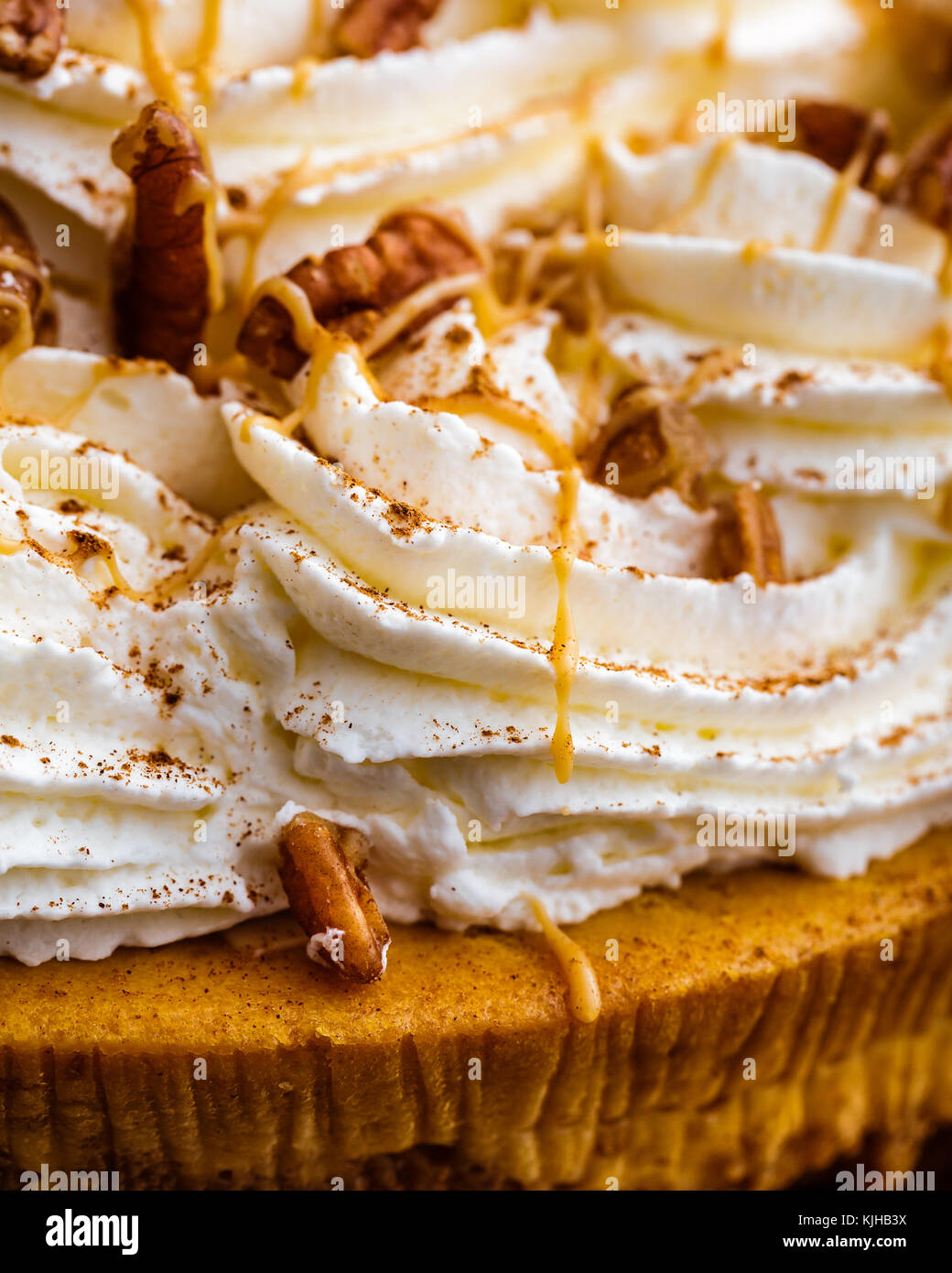 Enjoy Thanksgiving with a pumpkin pie cheesecake.   Cheesecake is covered with whipped cream and pecans, then drizzled - Stock Image