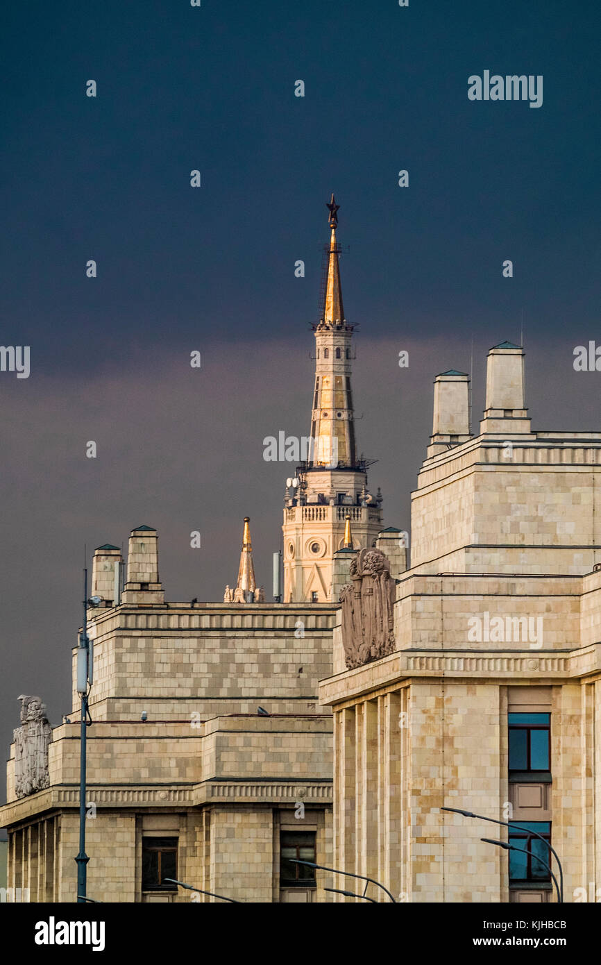Russia, Moscow. Silhouettes of the Seven Sisters (Stalinskie Vysotki) skyscrapers. Stock Photo