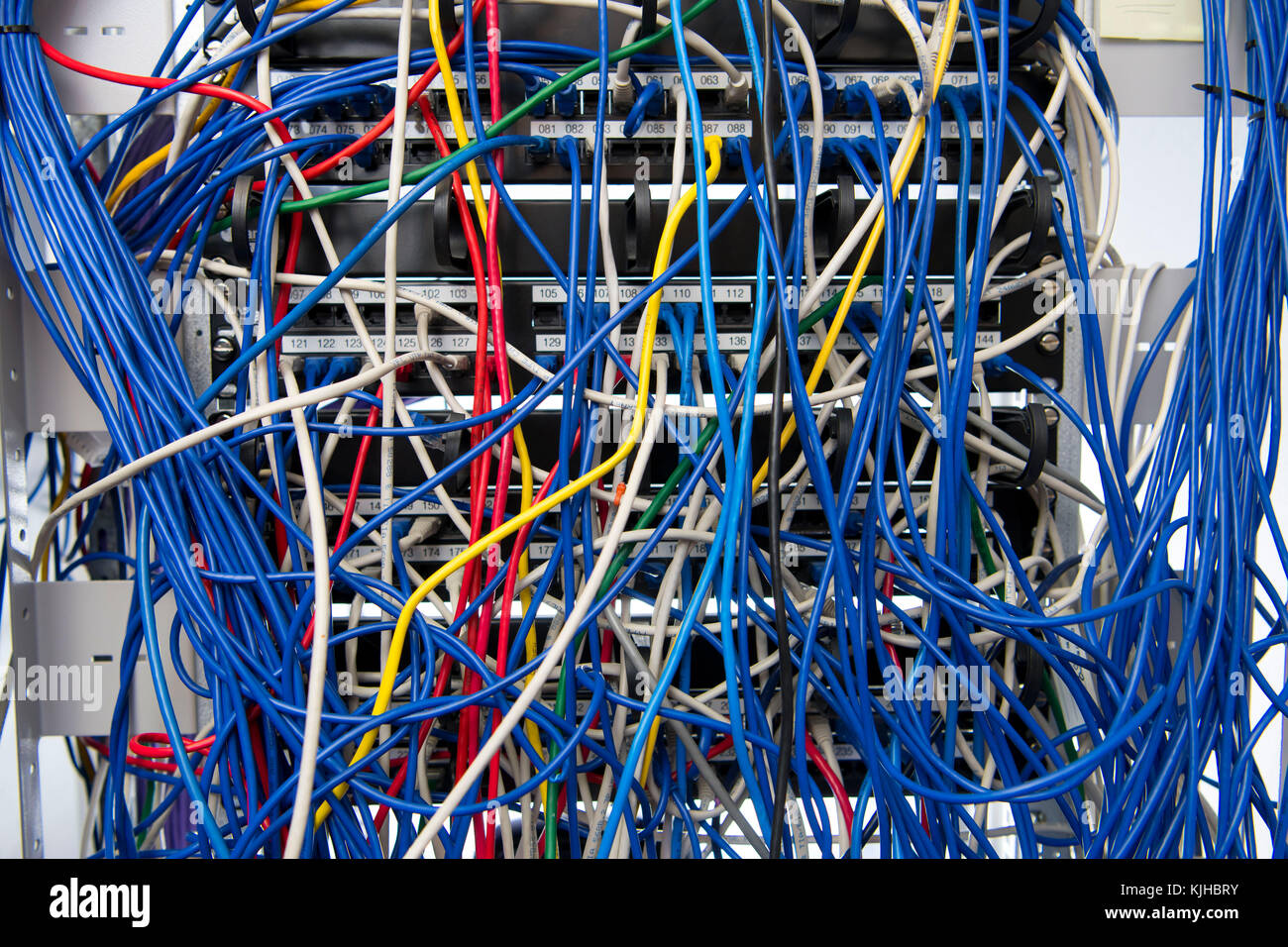 A Mess Of Cables Stock Photos Images Alamy Internet Wiring Closet Computer Network Server Cabinet With Tangled Blue Coloured