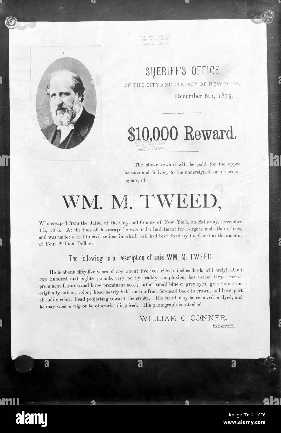 A wanted poster for William M Tweed after he escaped from jail the first time he was arrested, prior to heading - Stock Image