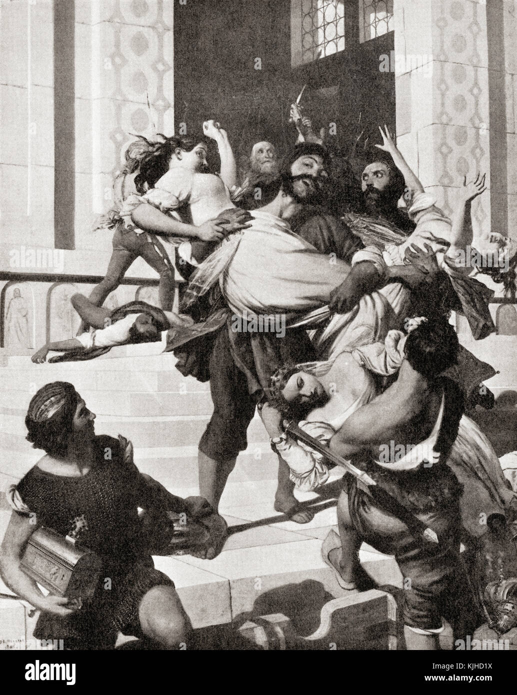 Istrian pirates carrying off Venetian brides, c. 800AD.  From Hutchinson's History of the Nations, published - Stock Image