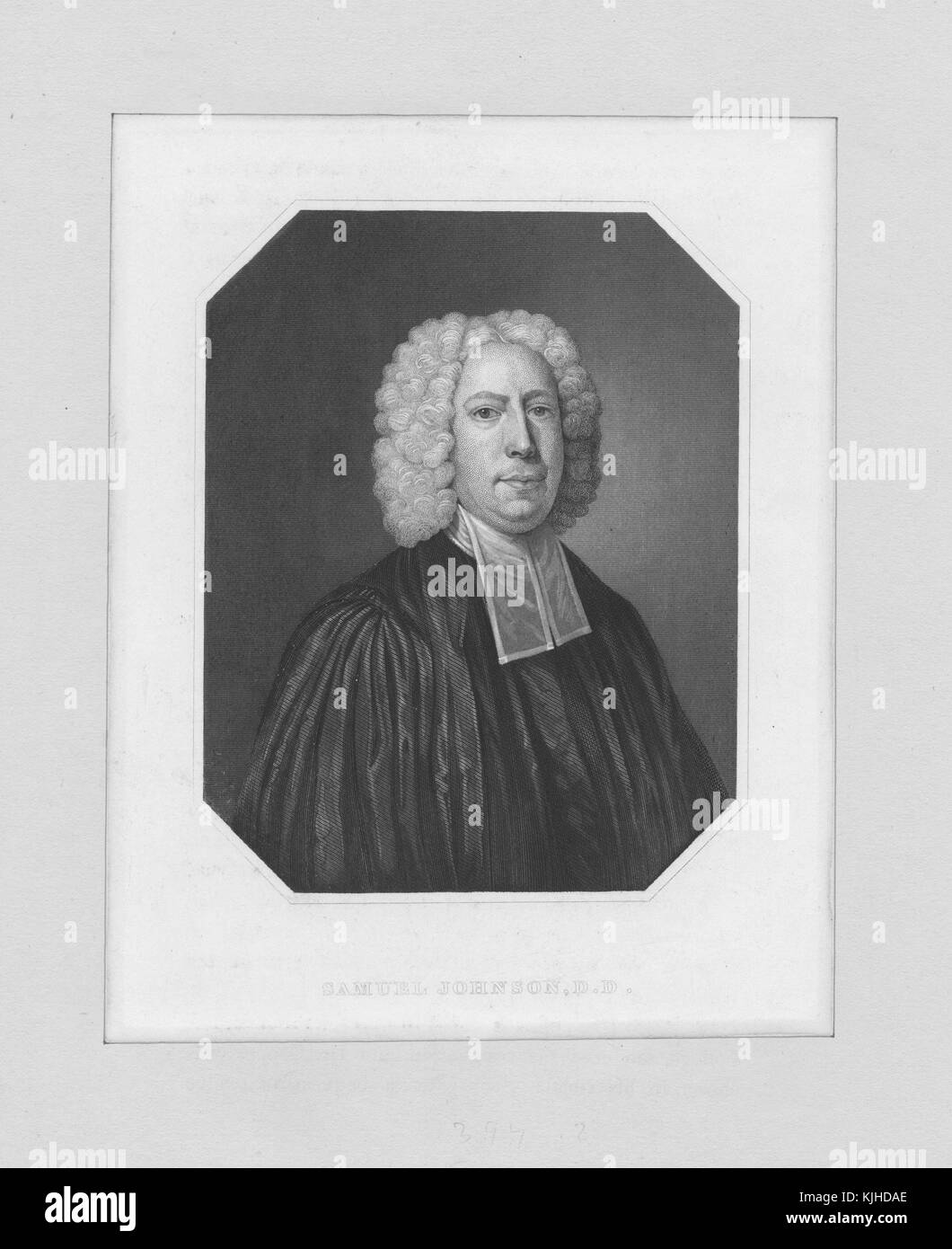An etching from a portrait of Samuel Johnson, he was an English writer, editor, and lexicographer, he published - Stock Image