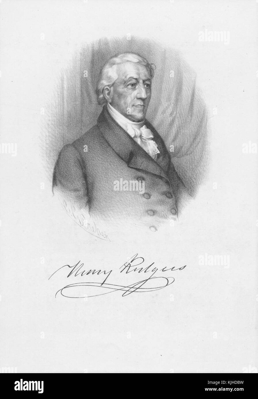 An etching from a portrait of Henry Rutgers, he was served in on the side of the colonialist during the American - Stock Image