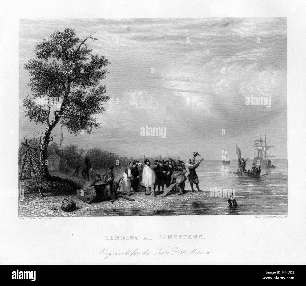 An engraving from a painting depicting members of the Virginia Company of London, England landing at Jamestown, - Stock Image