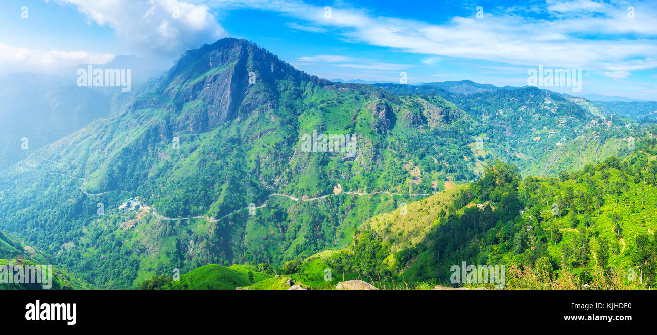 Ella resort is the popular ecotourism destination, people arrive here to visit famous mountain peaks and enjoy local - Stock Image