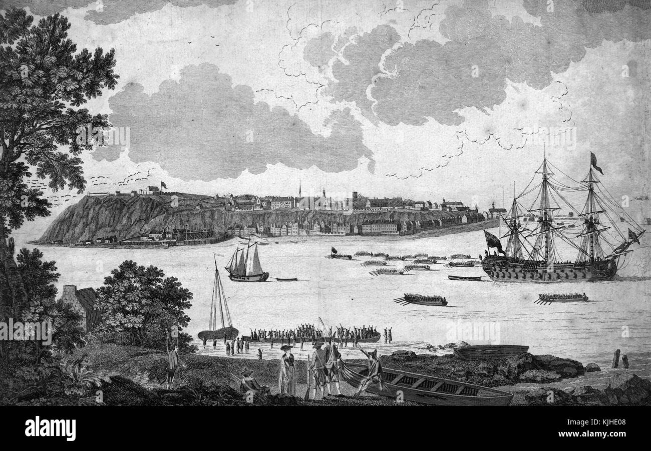 Colored lithograph depicting a view of Quebec City, from the shore, boats in the water, the city can be seen in - Stock Image