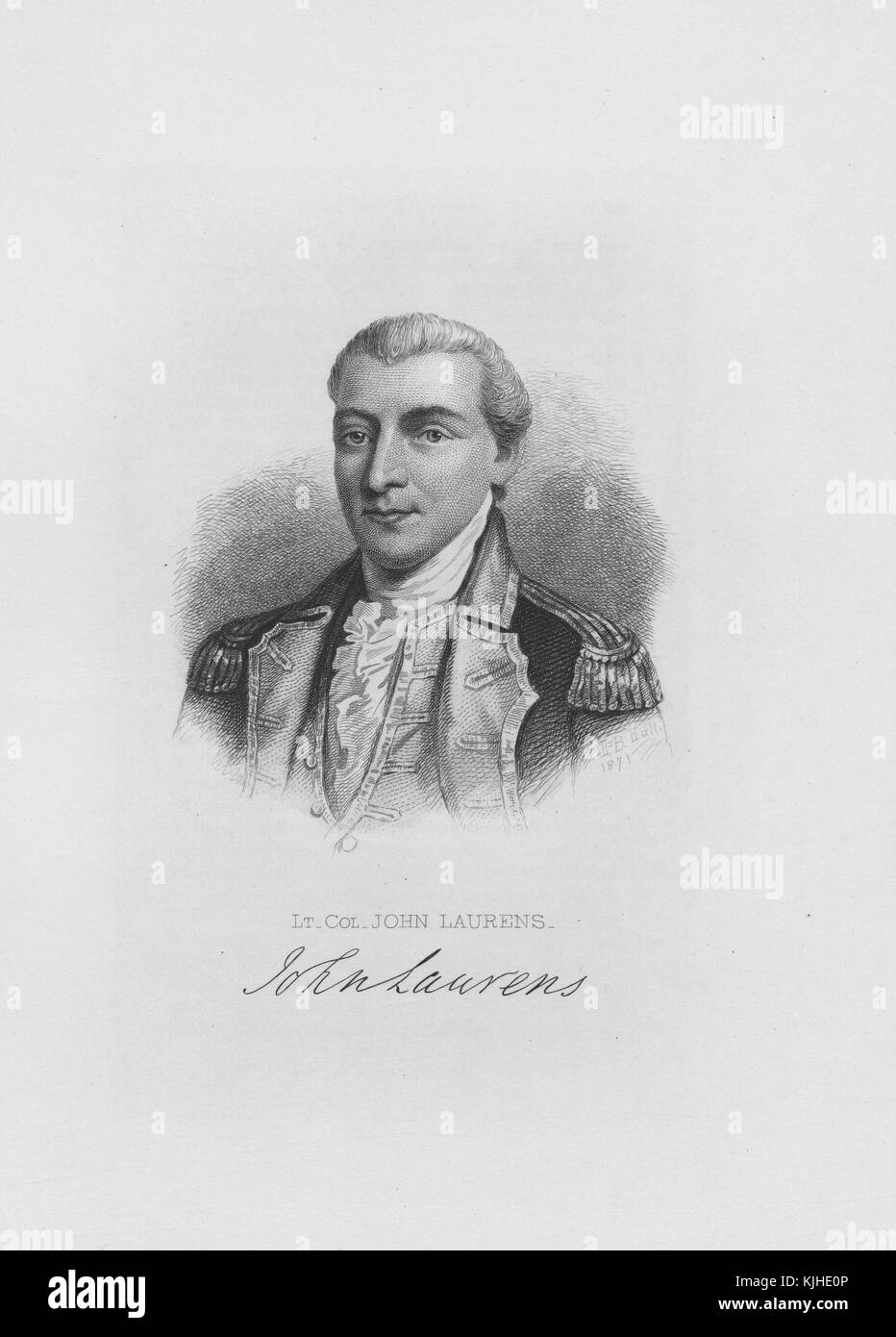 Engraved portrait of John Laurens, American soldier and statesman from South Carolina during the American Revolutionary - Stock Image