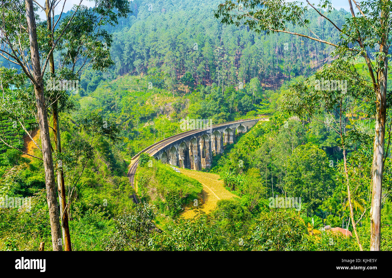 The winding tall Nine Arches Bridge is one of the most popular sites of Ella, tourists come here and wait the trains, - Stock Image