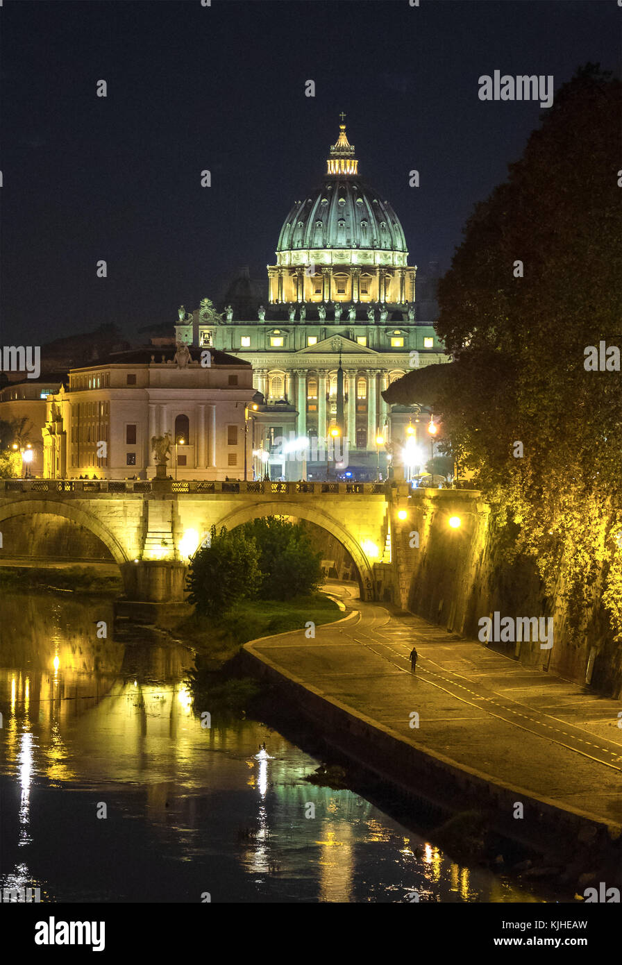 Rome (Italy) - The Tiber river and the monumental Lungotevere, with Castel Sant'Angelo and Saint Peter in Vatican, - Stock Image