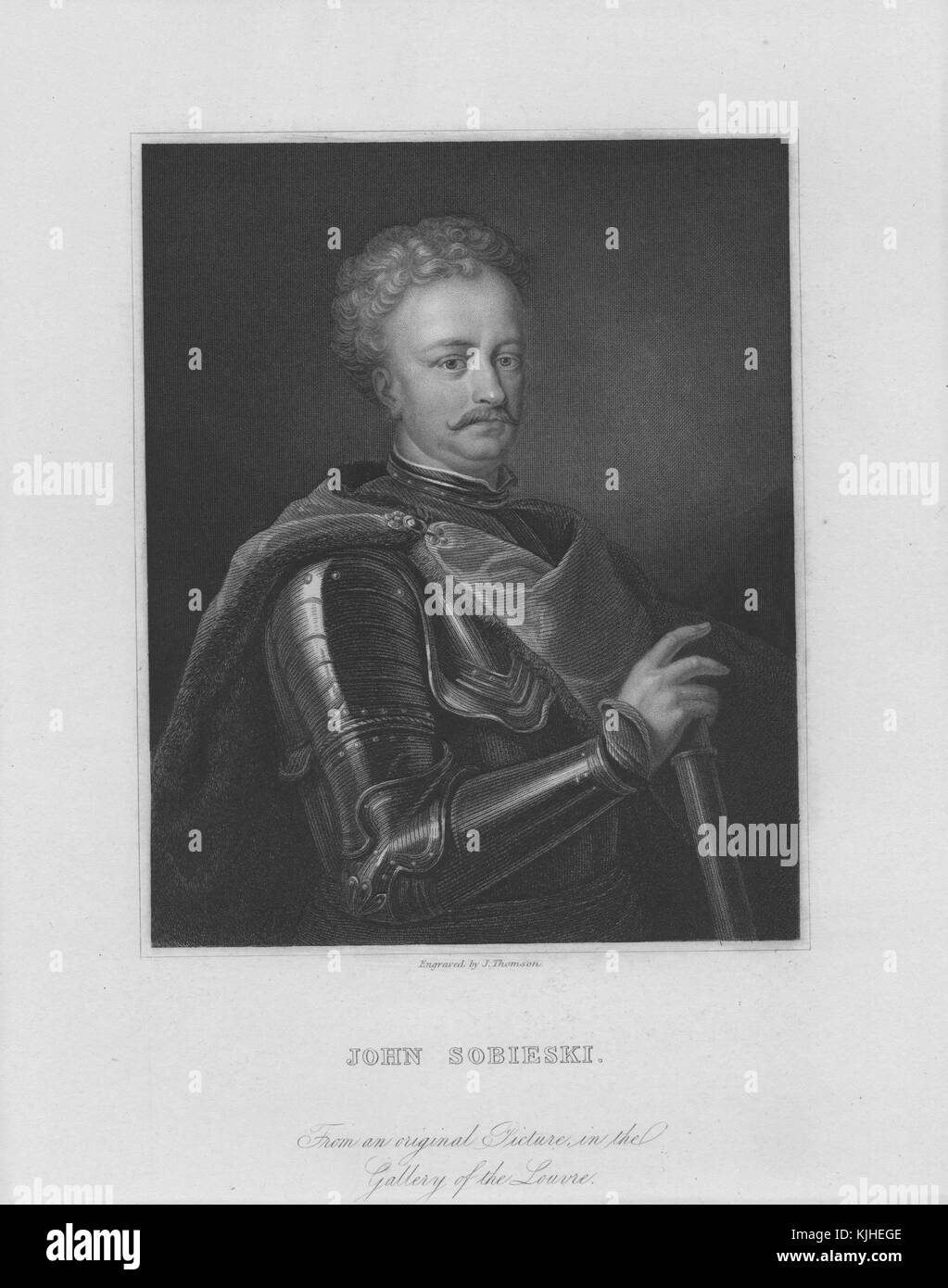 Engraved portrait of John Sobieski, from 1674 until his death King of Poland and Grand Duke of Lithuania, was one Stock Photo