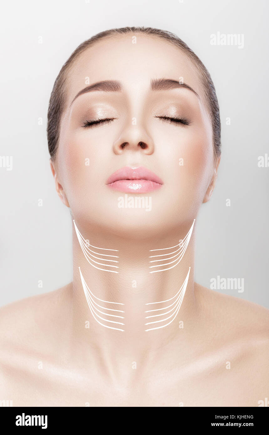 woman with arrows on her neck. lifting concept. Stock Photo
