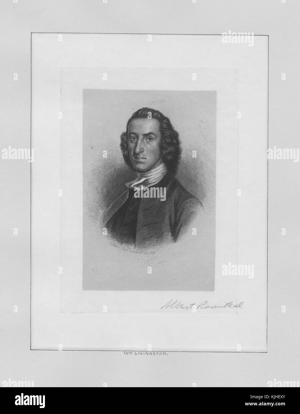 An engraving from a portrait of William Livingston, he was the 1st Governor of New Jersey and served in that office - Stock Image