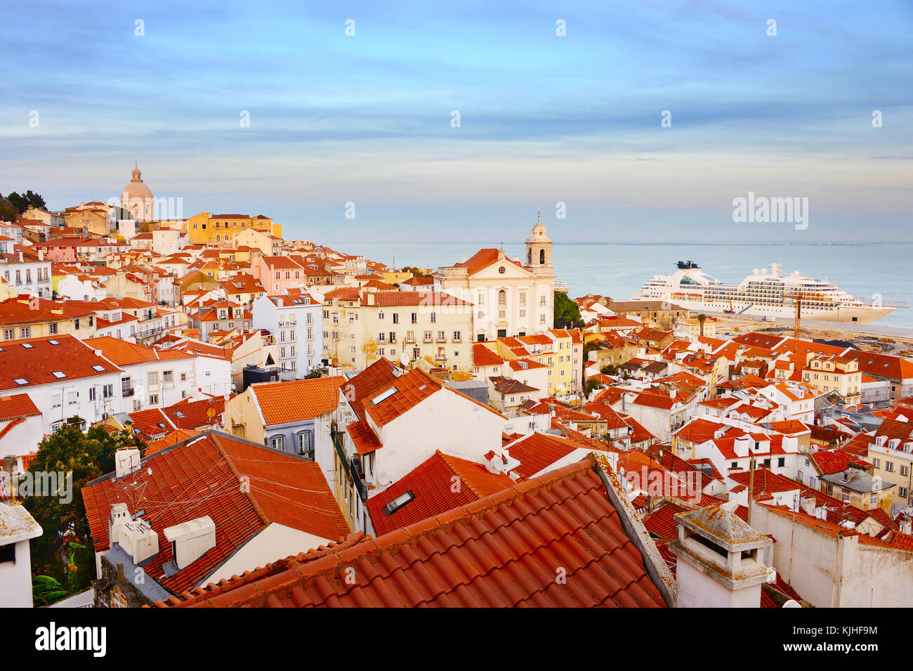 Skyline of Alfama - Lisbon Old Town at sunset. Portugal - Stock Image