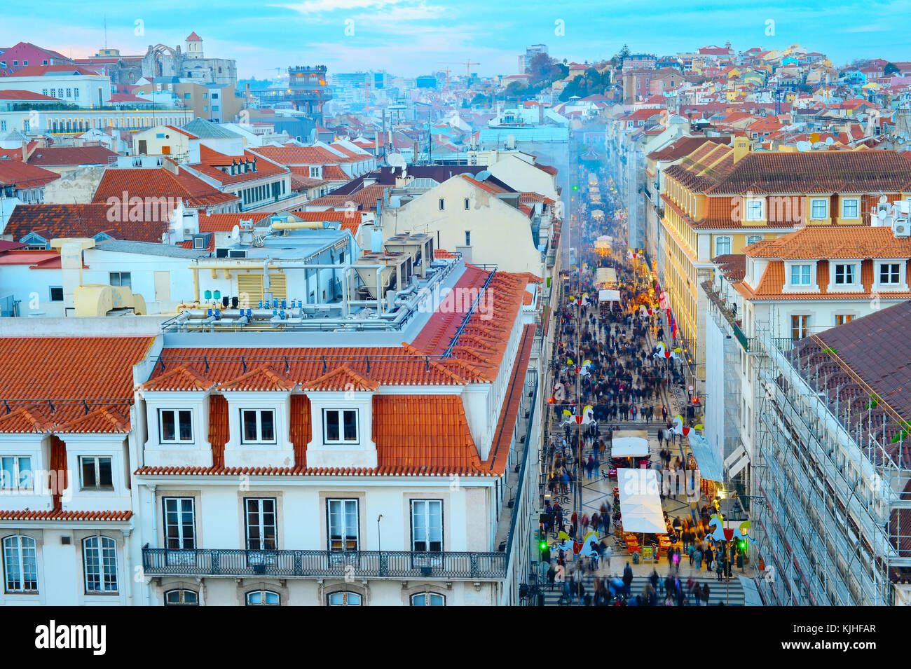 Aerial view of Augusta street and the Old Town of Lisbon at twilight. Portugal - Stock Image