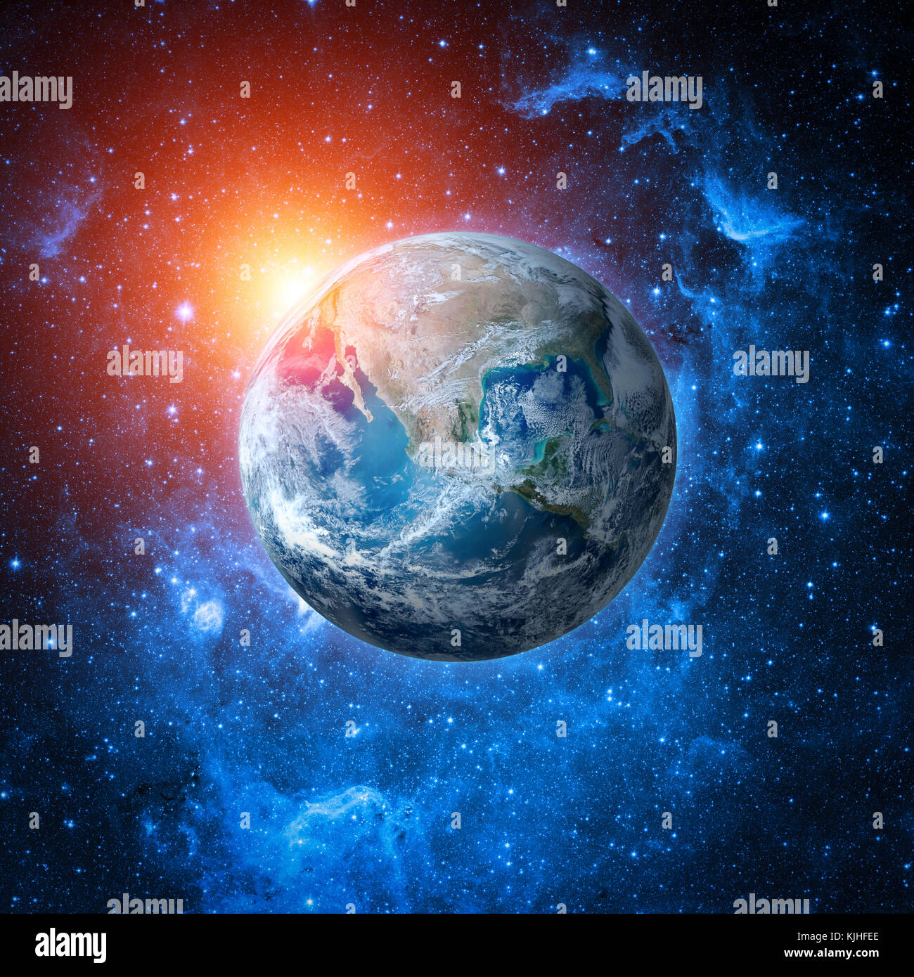 Collage of world globe from space - Stock Image