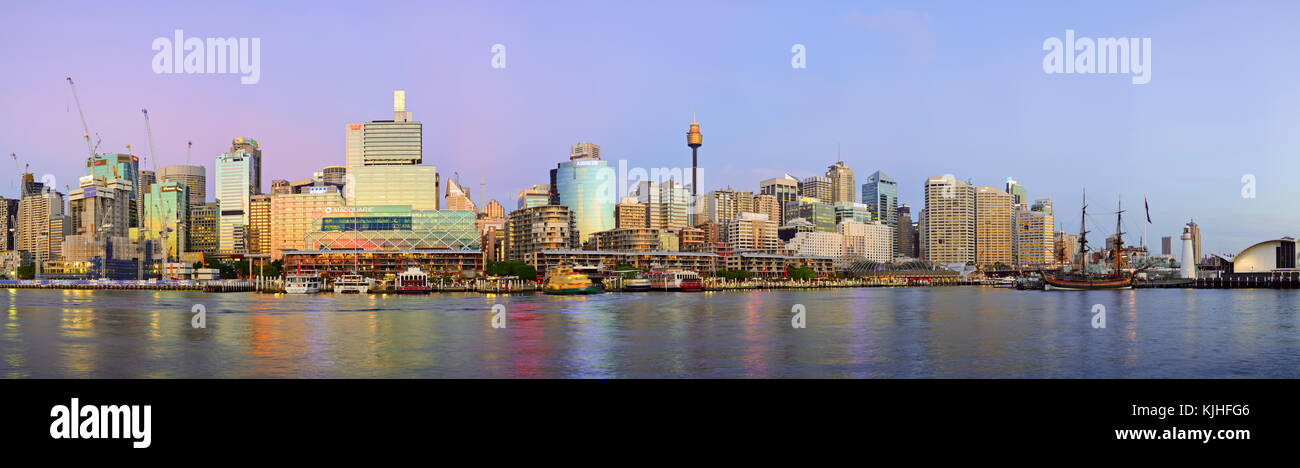 Darling Harbour Panorama at Twilight, Sydney, New South Wales, Australia - Stock Image