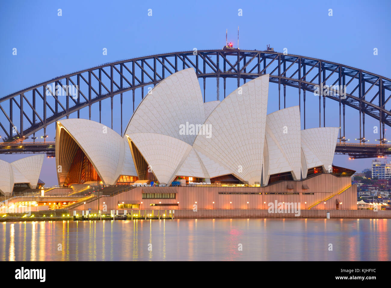 Sydney Opera House And Harbour Bridge At Dusk, The Royal Botanic Garden,  Sydney, NSW, Australia