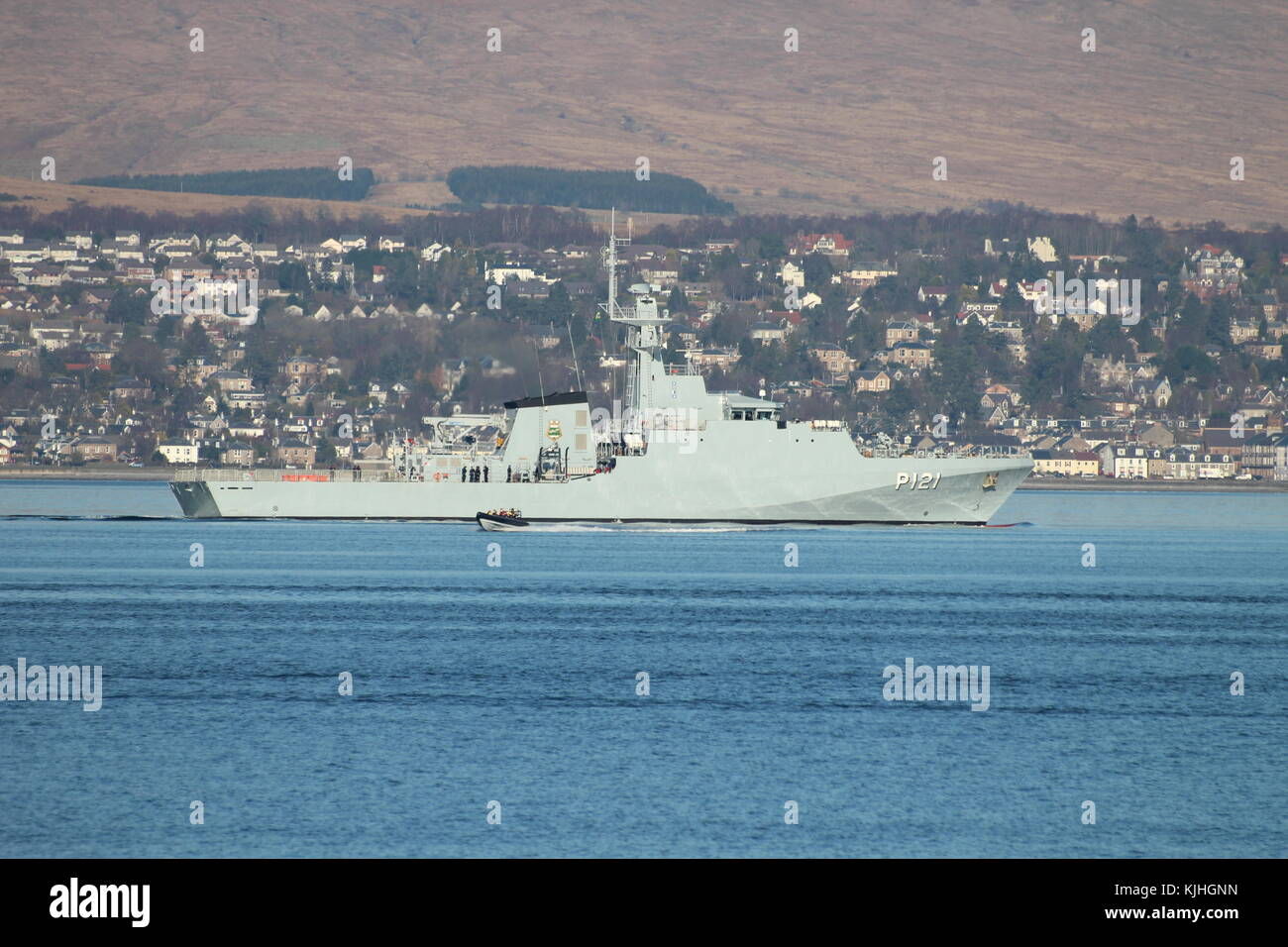 NaPaOc Apa (P121), an Amazonas-class corvette of the Brazilian Navy, off Greenock on the Firth of Clyde. - Stock Image