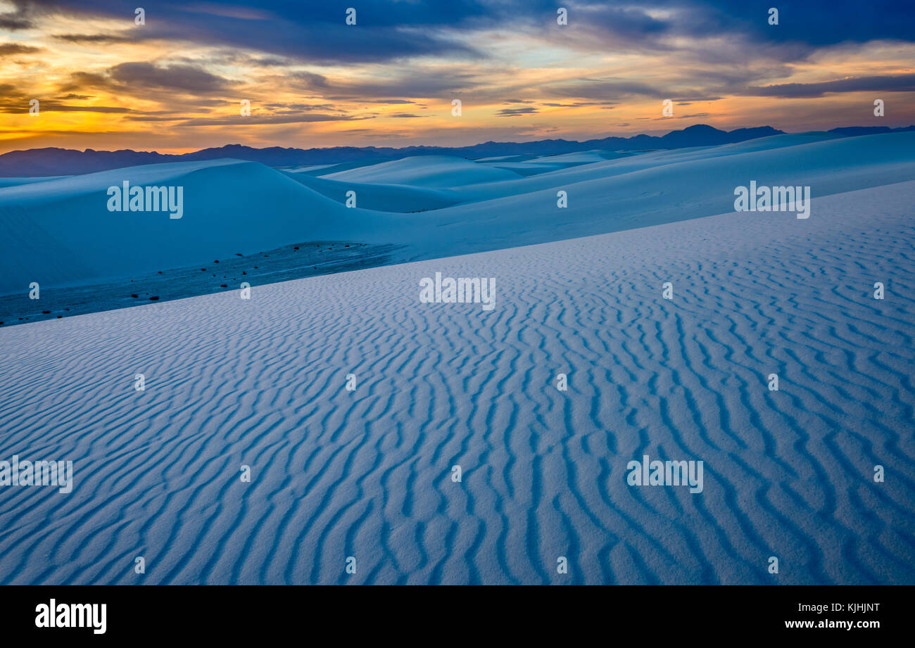 The unique and beautiful White Sands National Monument in New Mexico.This gypsum dune field is the largest of its - Stock Image