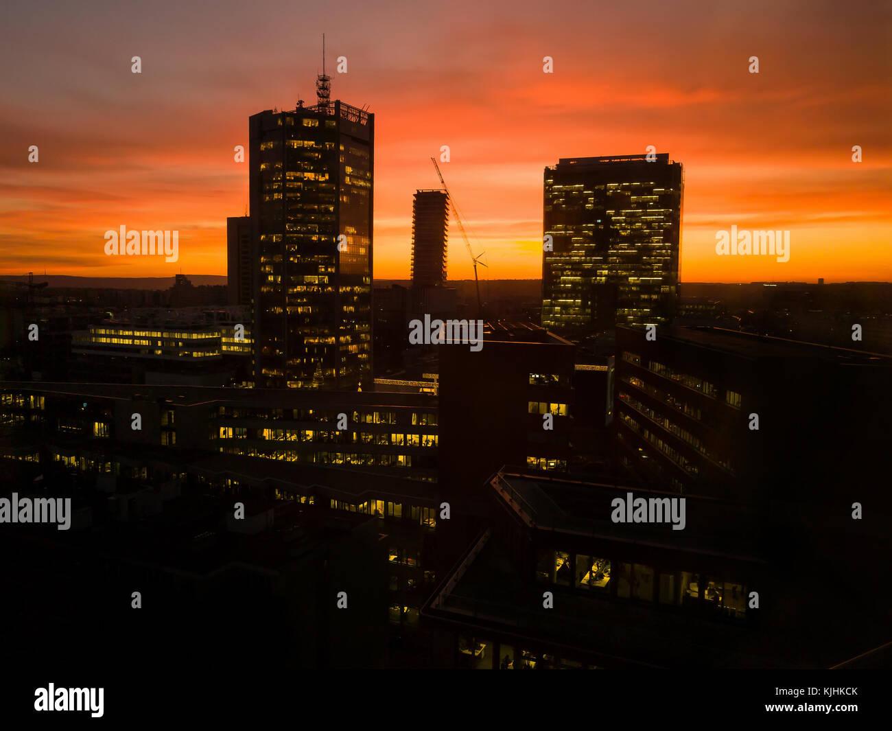 Prague skyscrapers in orange sunsset - Stock Image