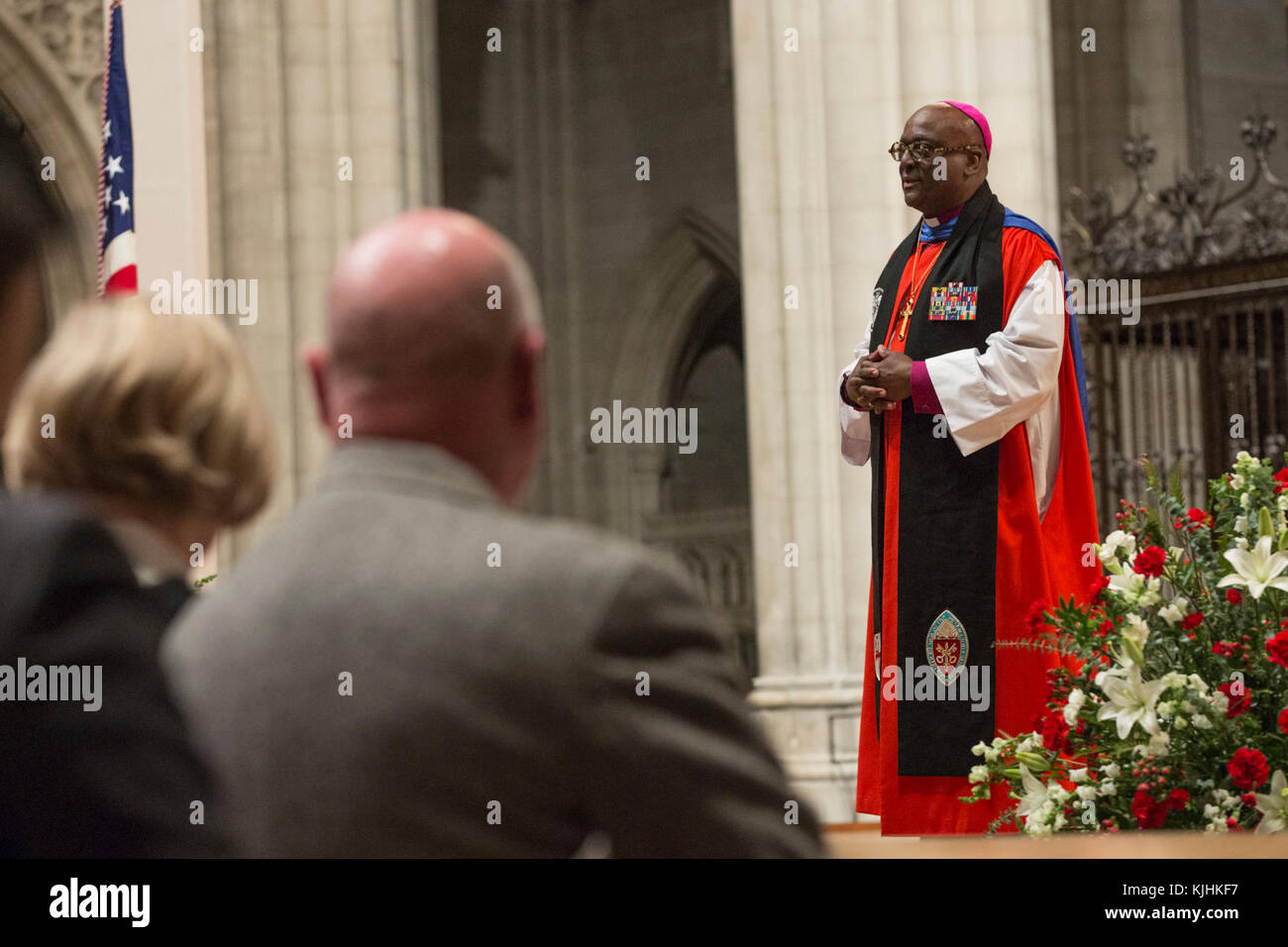 The Right Reverend Carl W. Wright, bishop suffragan for Armed Service and Federal Ministries, gives remarks during - Stock Image
