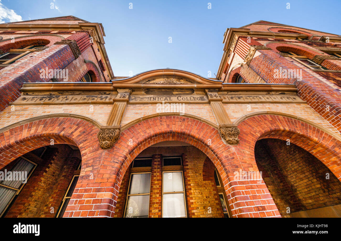 Australia, New South Wales, Newcastle, ornate brickwork facade of the former Trades Hall and Technical College buildings - Stock Image