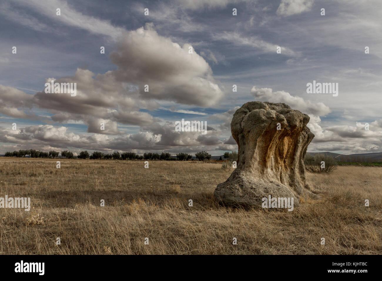 Big granite rock in La Mancha (Spain) - Stock Image