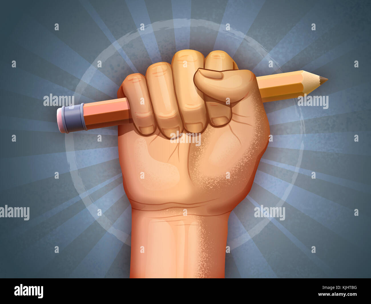 Fist holding a pencil as a symbol of freedom. Digital illustration. - Stock Image