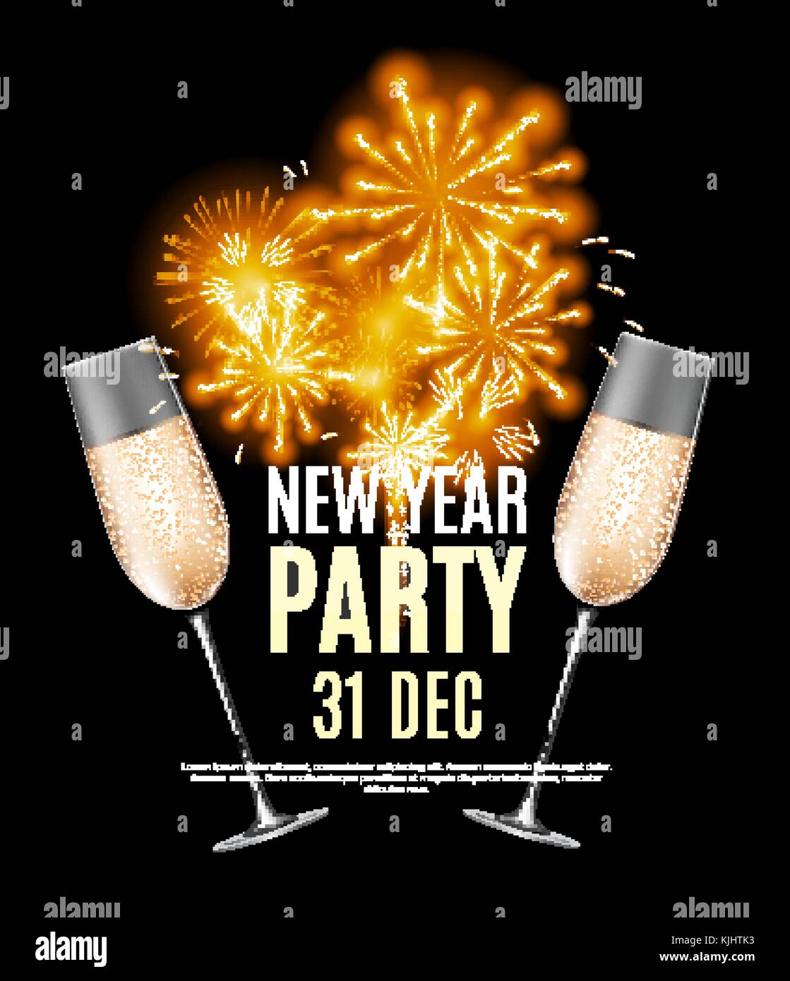 happy new year party 31 december poster vector illustration stock image