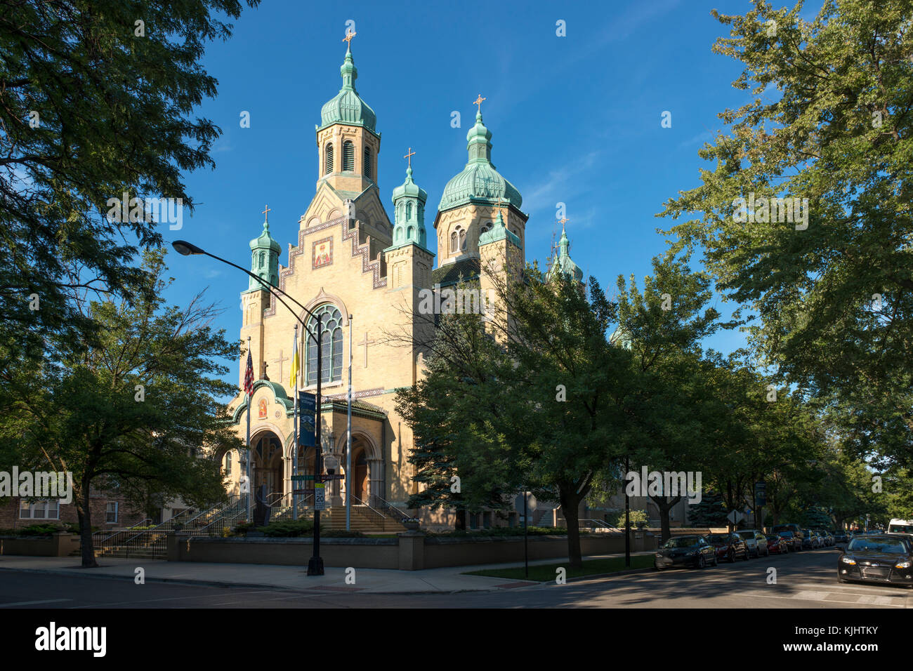 Saint Nicholas church in Chicago Ukrainian Village is an example of Byzantine-Slavonic architectural style. - Stock Image