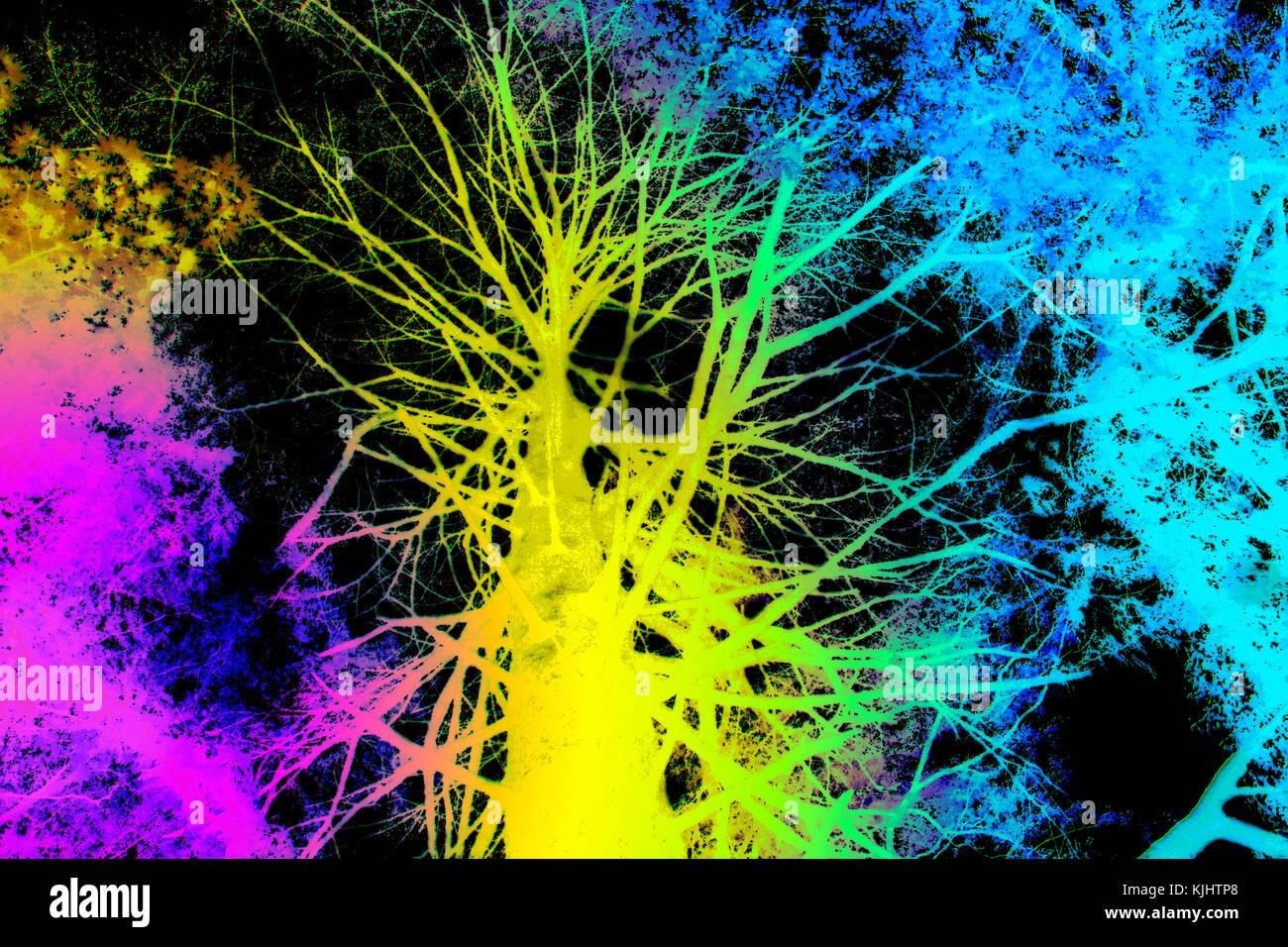 Baum in Regenbogen Farben Pink, Gelb, Türkis - Stock Image