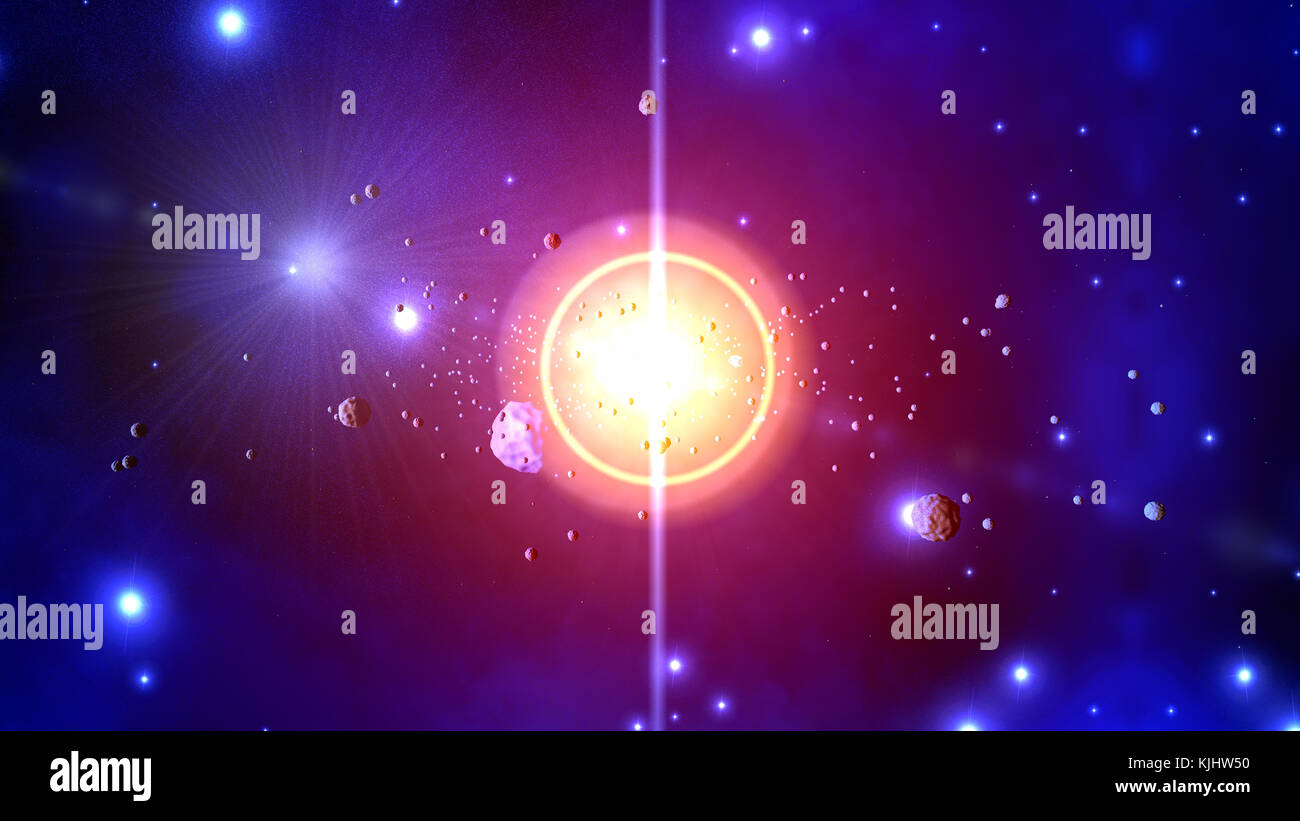 3D Illustration of a stellar explosion or Supernova throwing Asteroids and Rocks. - Stock Image