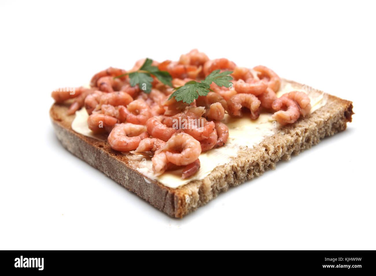 Krabbenbrot mit Salzbutter - Stock Image