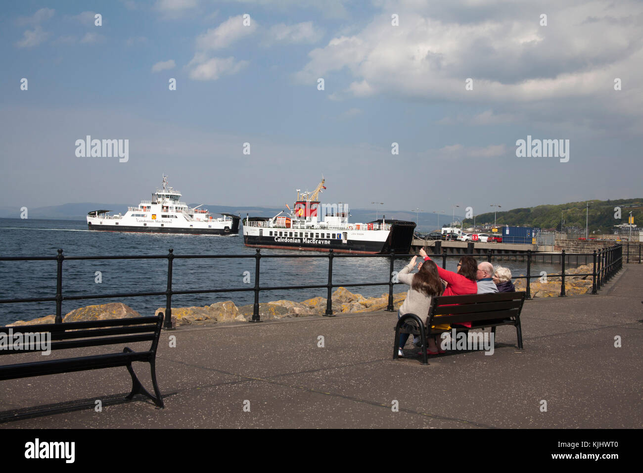The Cal Mac Ferries Loch Shira or Loch Siora and Loch Riddon at the ferry pier Largs Ayrshire Scotland - Stock Image