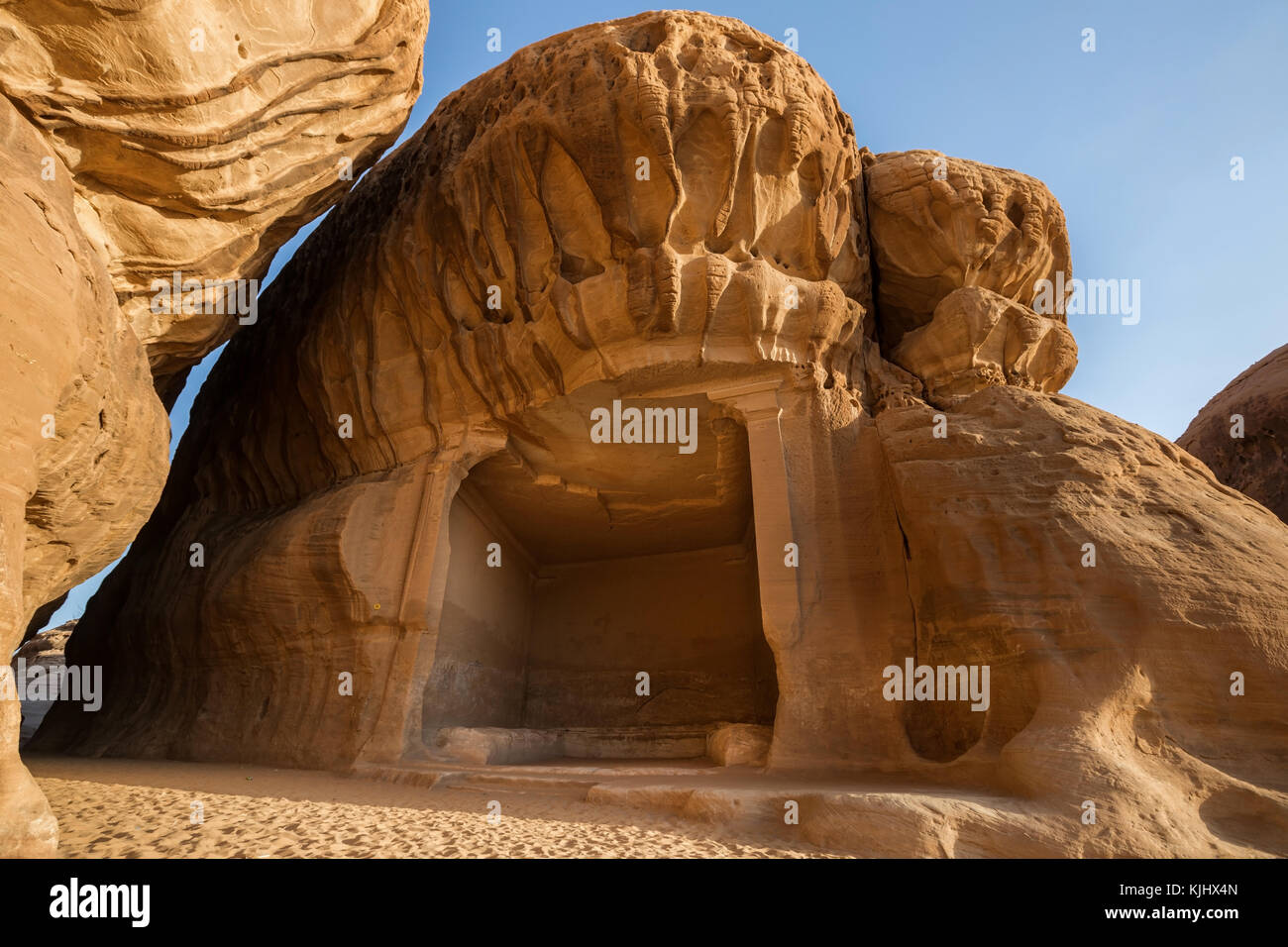 Rock formation and carving, Mada'in Saleh, Al Madinah, Al-Hejaz, Saudi Arabia - Stock Image