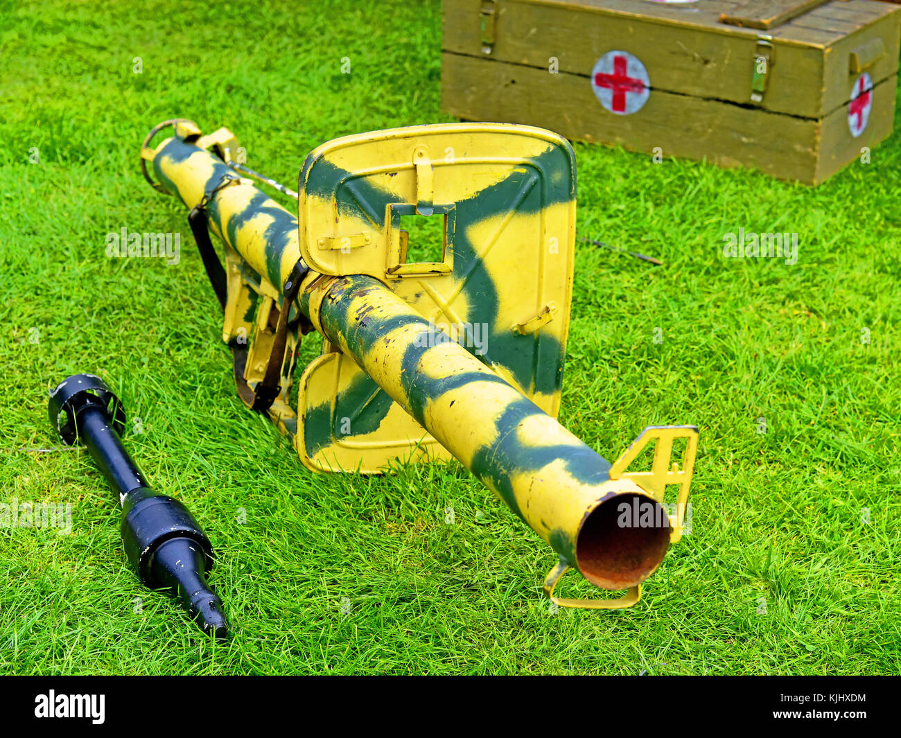 German WWII anti tank infantry weapon Panzerschreck and missile - Stock Image